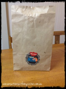Our local Indian Take-a-way have recently made the change to brown paper bags - so much better than bringing home our order in Plastic Bags!