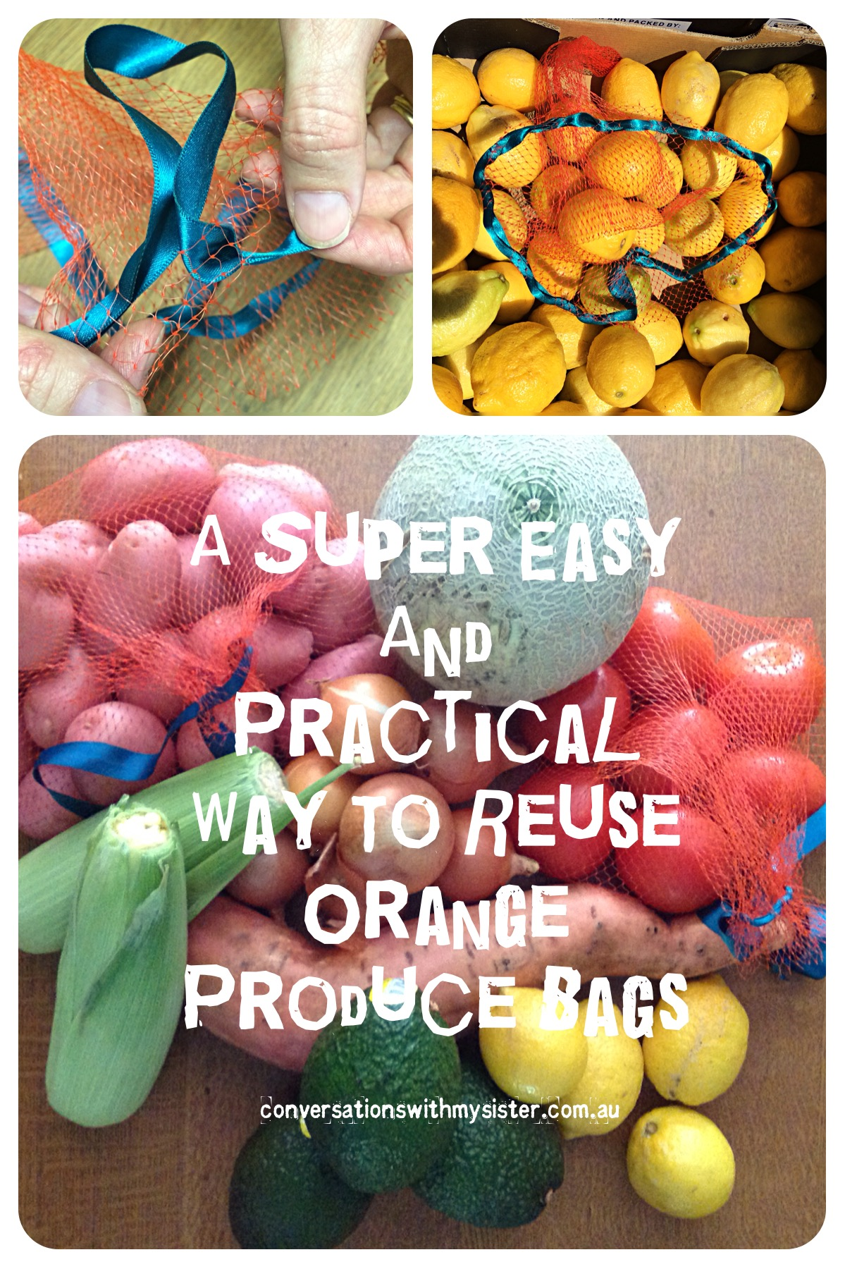 ||A Super Easy and Practical Way To Reuse Orange Produce Bags || conversationswithmysister.com.au
